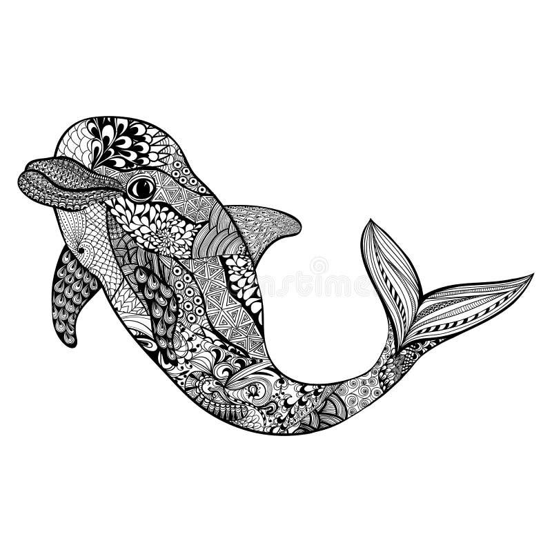 Zentangle estilizou o golfinho Mal aquático tirado mão do vetor da garatuja ilustração royalty free