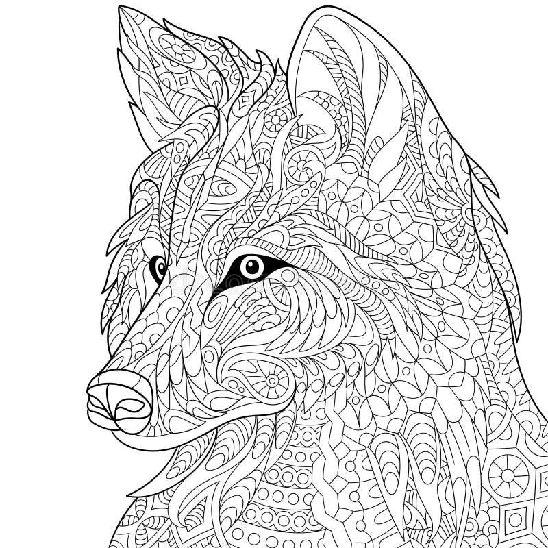 Zentangle estilizou o lobo ilustração royalty free