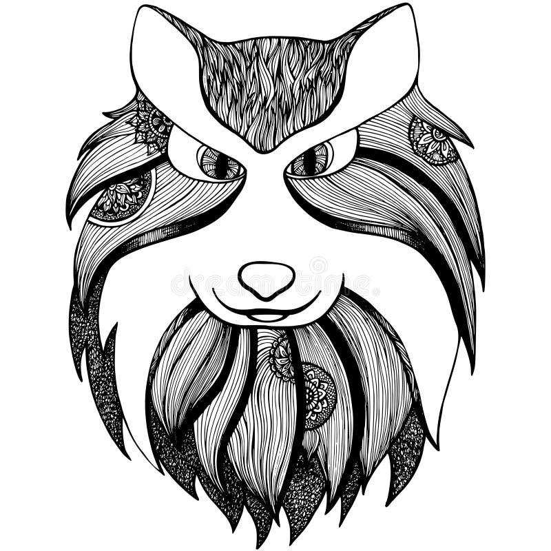 Zentangle estilizou o lobo anti página adulta da coloração do esforço ilustração stock