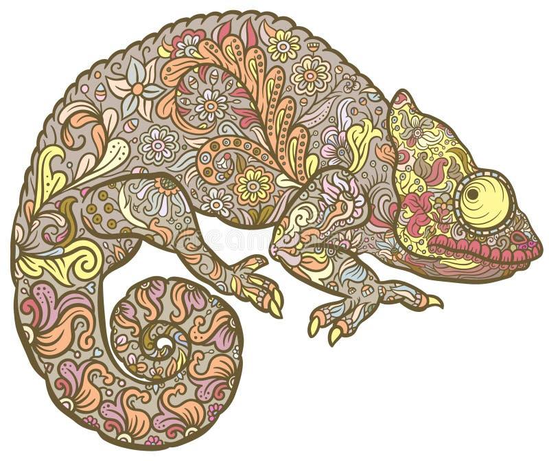 Zentangle estilizou o multi camaleão colorido ilustração royalty free