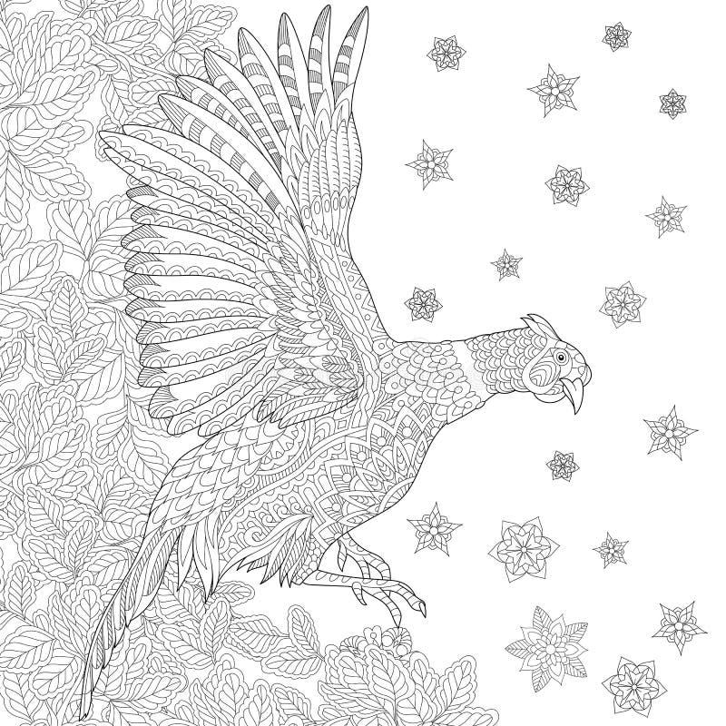 Zentangle estilizou o pássaro do faisão ilustração stock