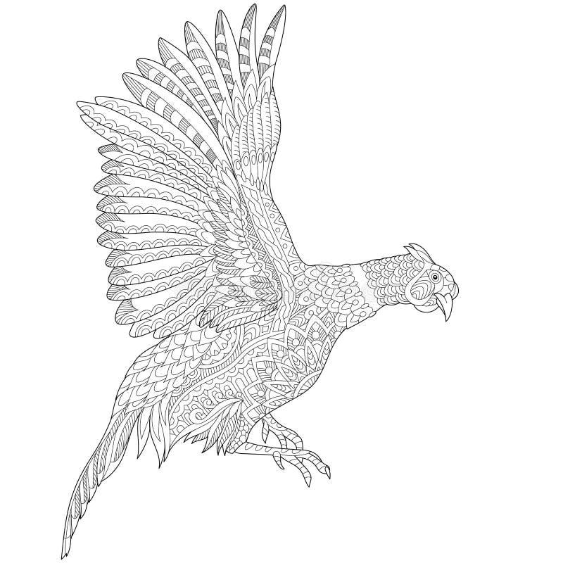 Zentangle estilizou o pássaro do faisão ilustração royalty free