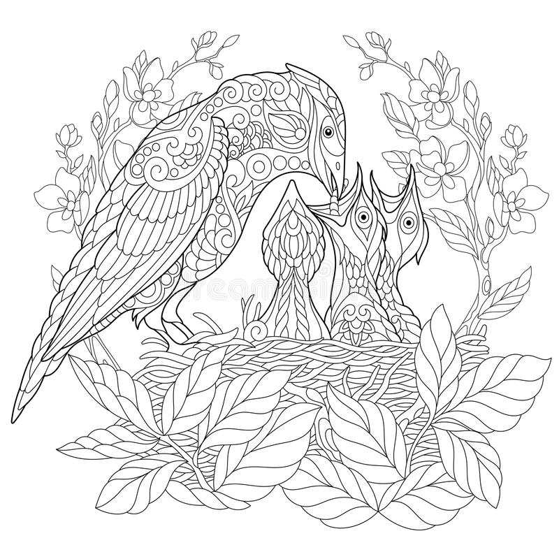 Zentangle estilizou o pássaro do gaio ilustração royalty free
