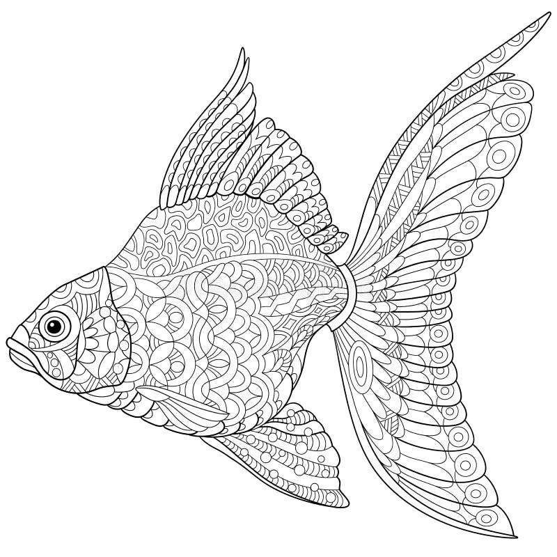 Zentangle estilizou o peixe dourado ilustração stock