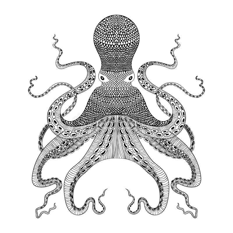 Zentangle estilizou o polvo preto Ilustração desenhada mão ilustração royalty free