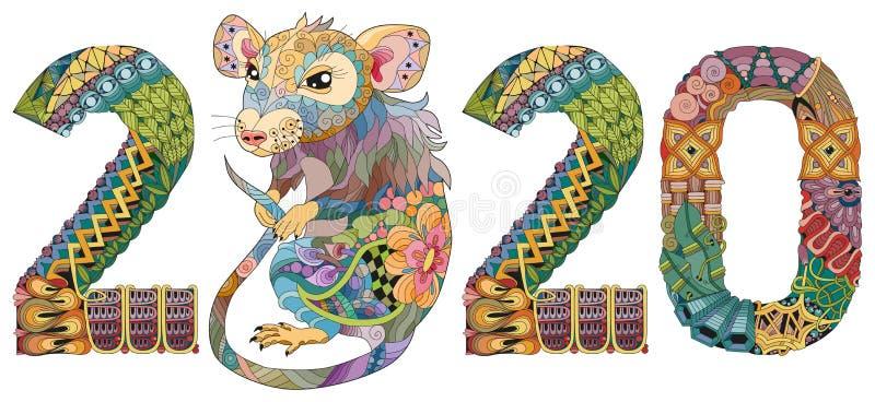 Zentangle estilizou o rato número 2020 Ilustração tirada mão do vetor do laço ilustração royalty free