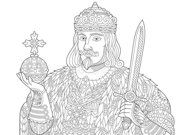 Zentangle estilizou o rei ilustração stock