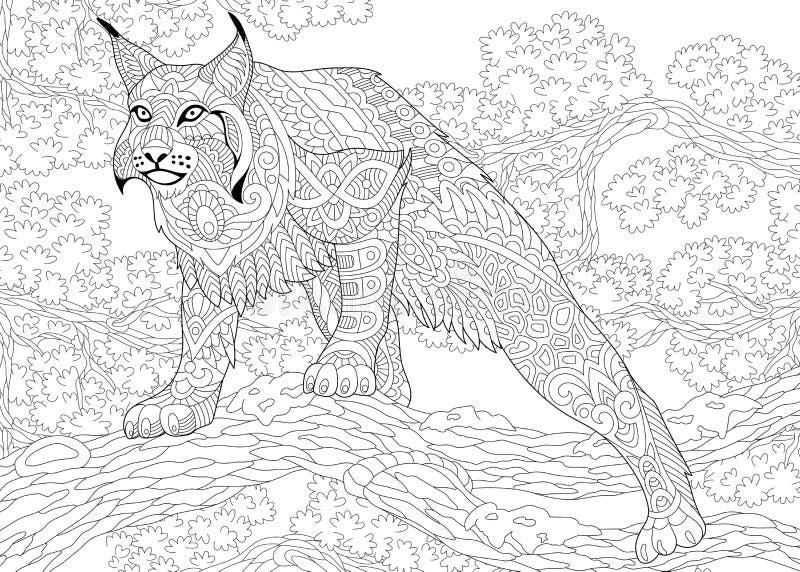 Zentangle estilizou o wildcat ilustração stock