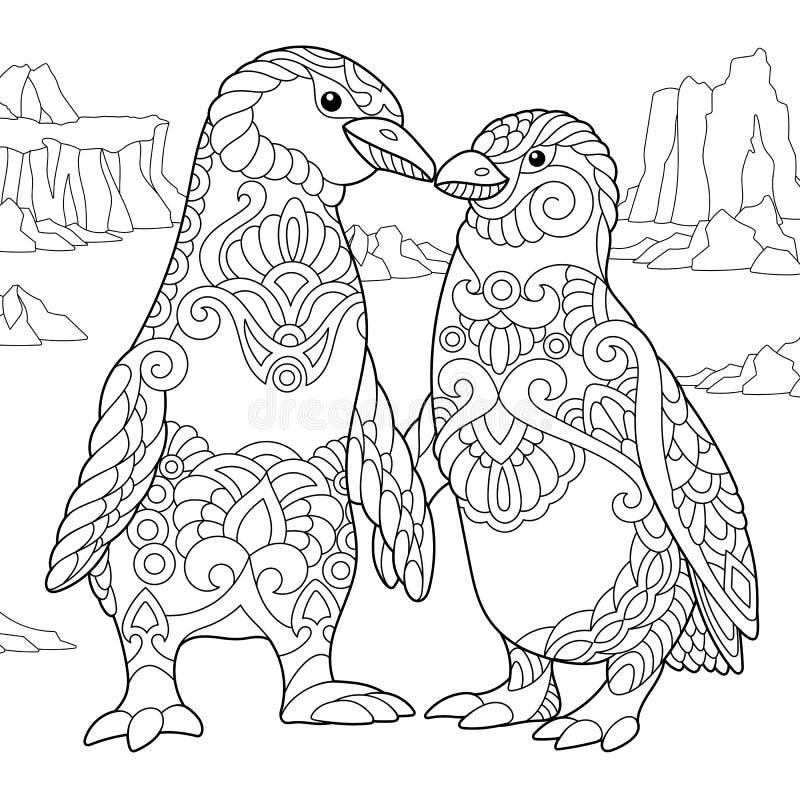 Zentangle estilizou pares do pinguim ilustração stock