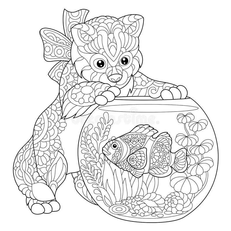 Zentangle estilizou peixes do gatinho e do palhaço ilustração royalty free