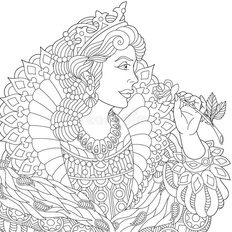 Zentangle estilizou a rainha ilustração royalty free