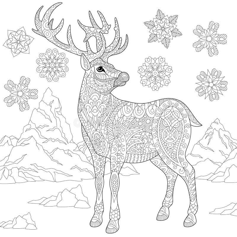 Zentangle estilizou a rena e a neve ilustração stock