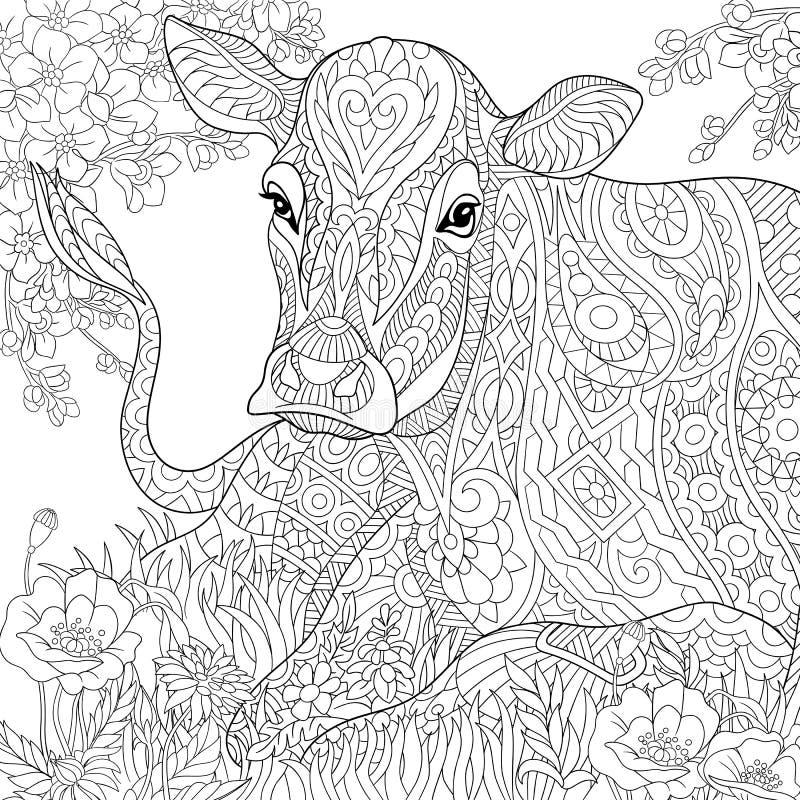 Zentangle estilizou a vaca ilustração do vetor