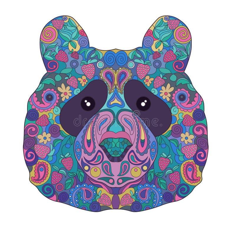 Zentangle ethnique Panda Bear Head tiré par la main fleuri Griffonnage peint animal illustration libre de droits