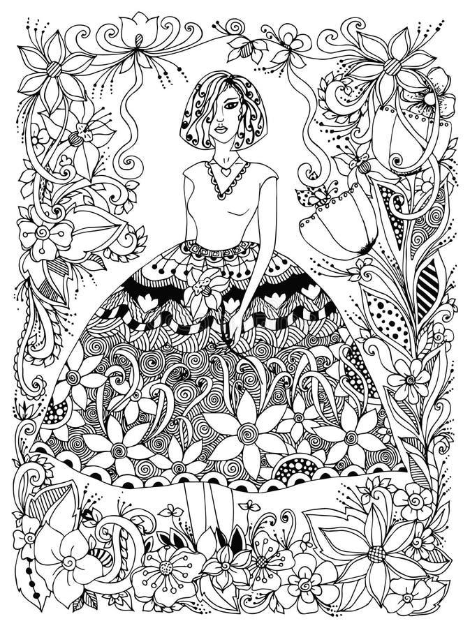 Zentangle för blomma för innehav för vektorillustrationflicka i full tillväxt för frodig klänning Ram av blommor, klotter, zenart stock illustrationer
