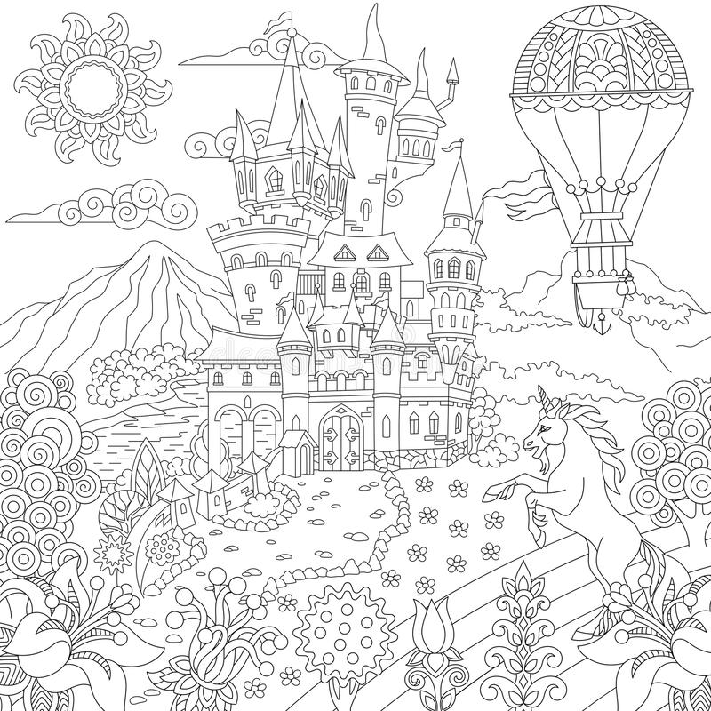Zentangle fairytale landscape royalty free illustration