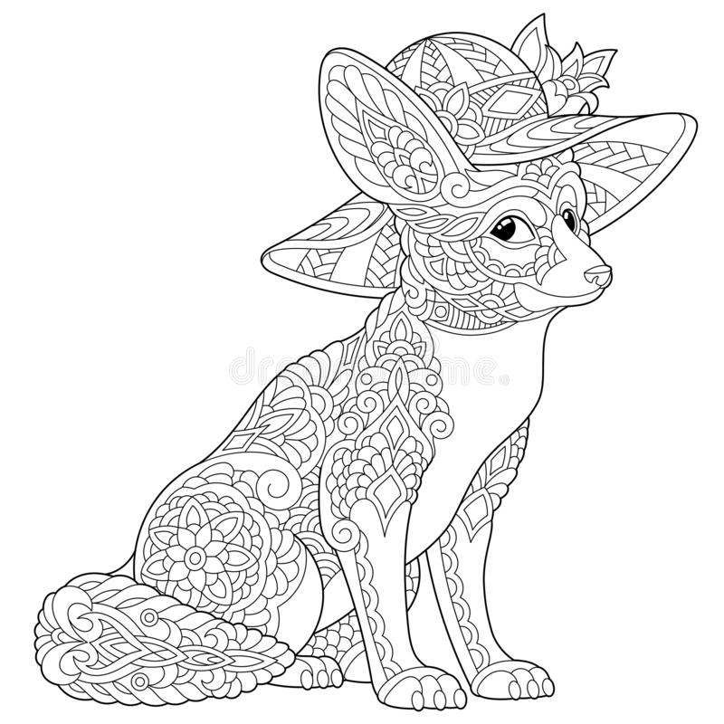 Zentangle fennec fox coloring page royalty free stock photo