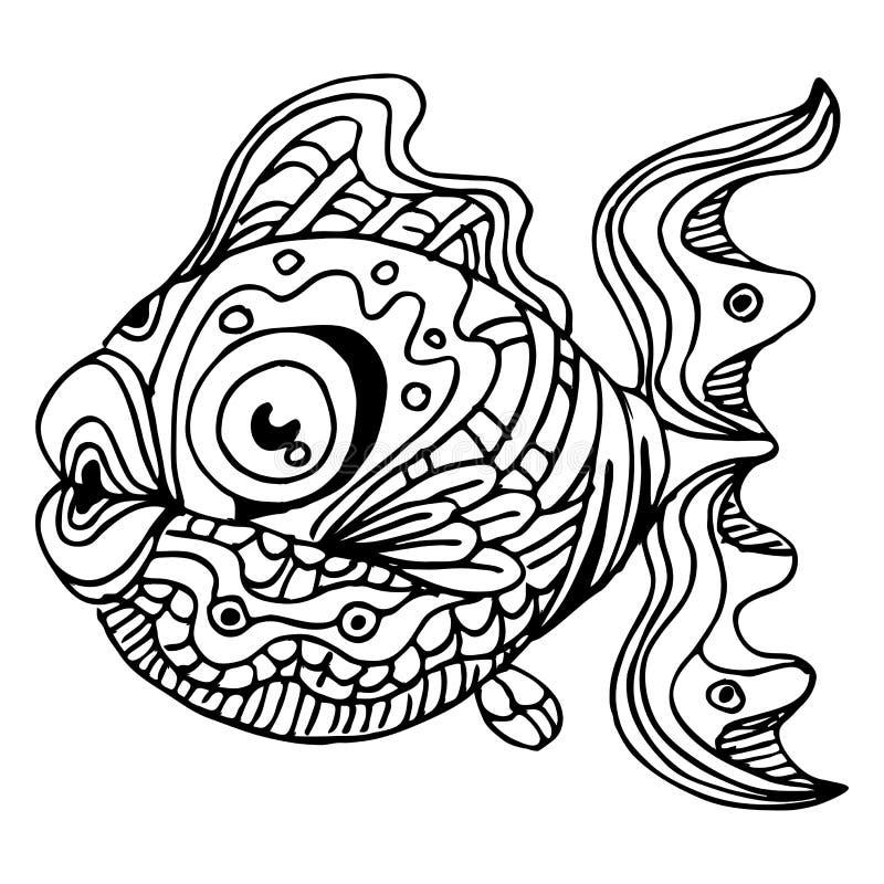 Zentangle fisk royaltyfri illustrationer