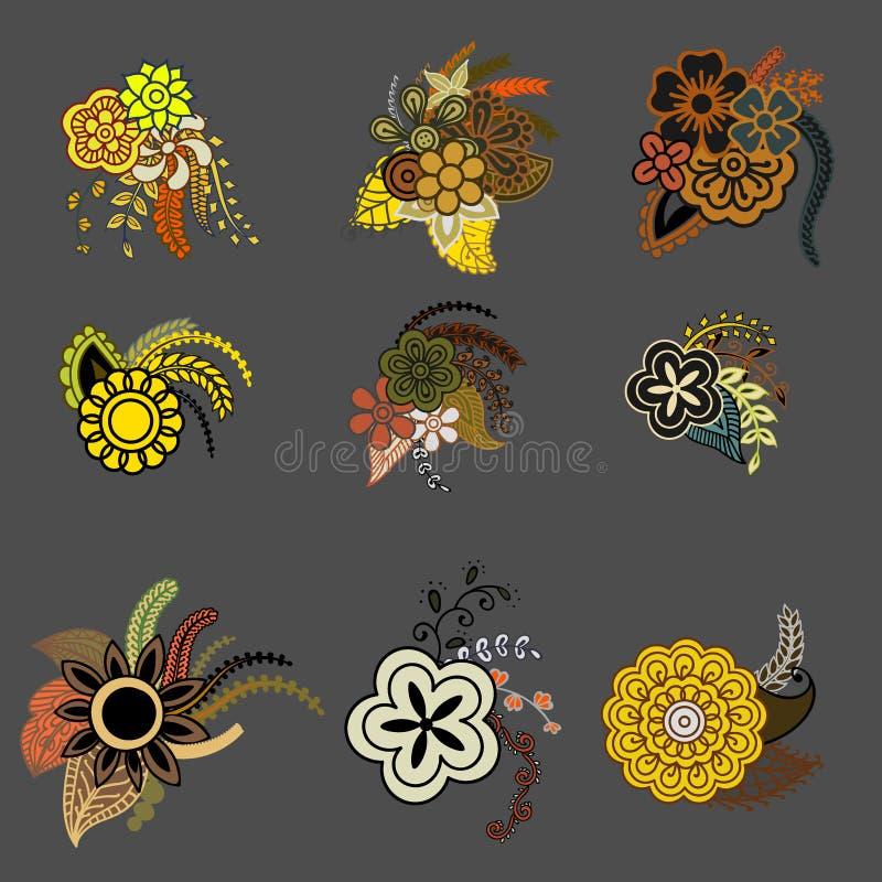 Zentangle floral étnico, círculo do teste padrão do fundo da garatuja no vetor As garatujas do mehndi de paisley da hena projetam ilustração stock