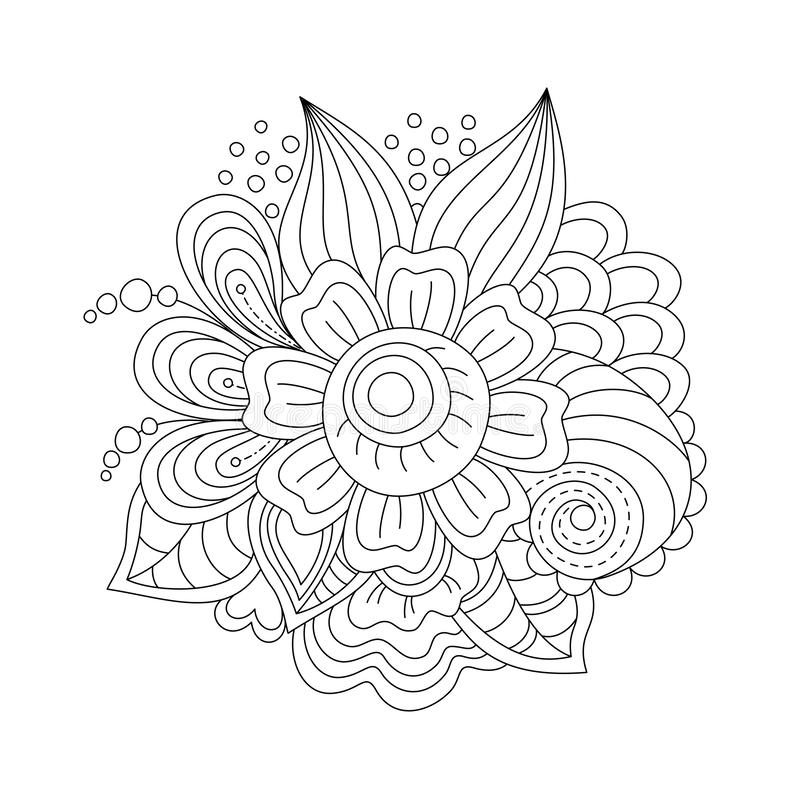 Zentangle flowers coloring page for adults and children, graphic flowers and leaves, abstract graphic. Zentangle flowers coloring page for adults and children vector illustration