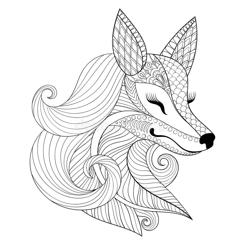 Zentangle Fox face in monochrome doodle style. Hand drawn Wild a. Nimal, vector face illustration for adult coloring pages, books, art therapy. Black and white stock illustration