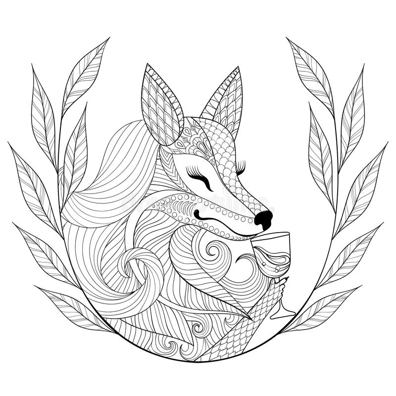 Zentangle Fox with glass of wine in monochrome doodle style. Han. D drawn Wild animal with wreath, vector face illustration for adult coloring page, book, art stock illustration