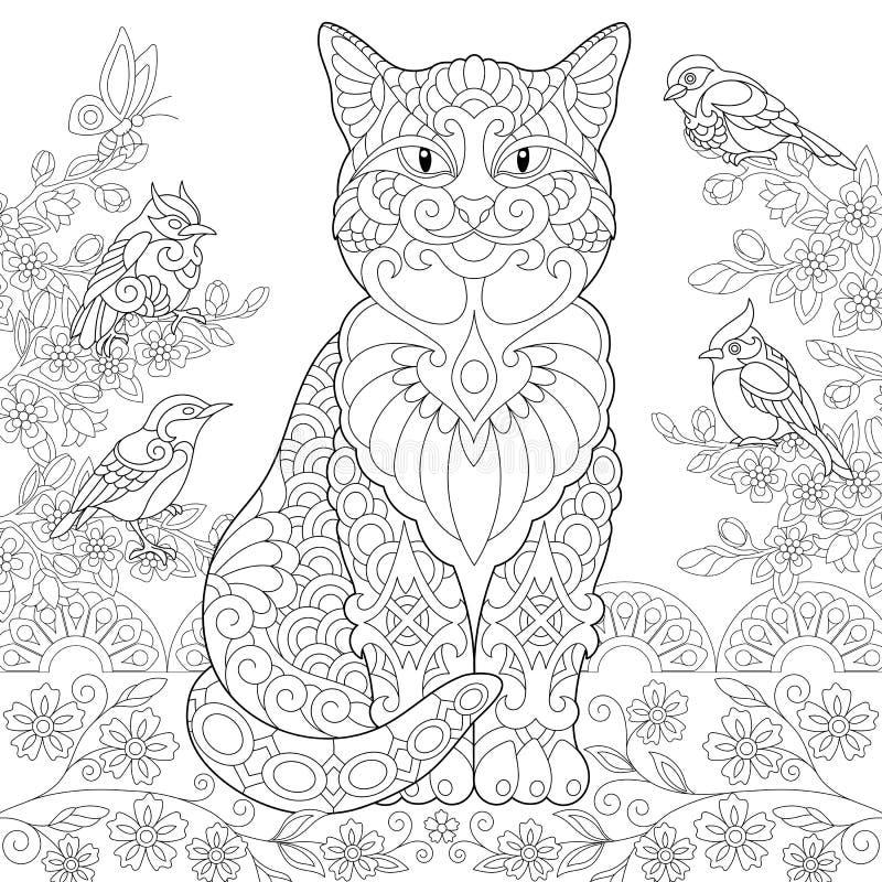 Zentangle-Frühlingskatze lizenzfreie abbildung