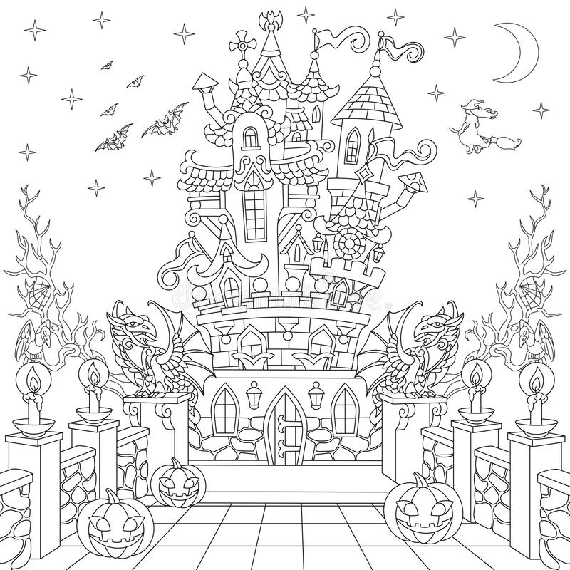 Zentangle gestileerd Halloween-kasteel vector illustratie