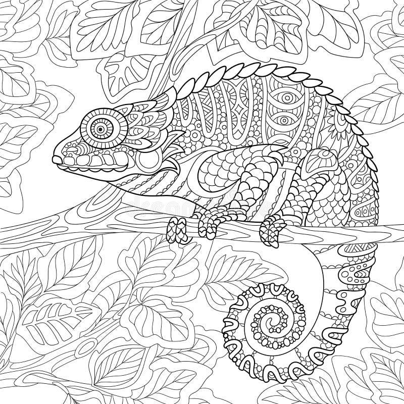 Zentangle gestileerd kameleon vector illustratie