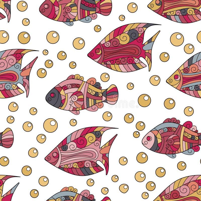 Zentangle gestileerd overzees shell naadloos patroon Hand Getrokken aquatische krabbel vectorillustratie Het oceaanleven shells royalty-vrije illustratie