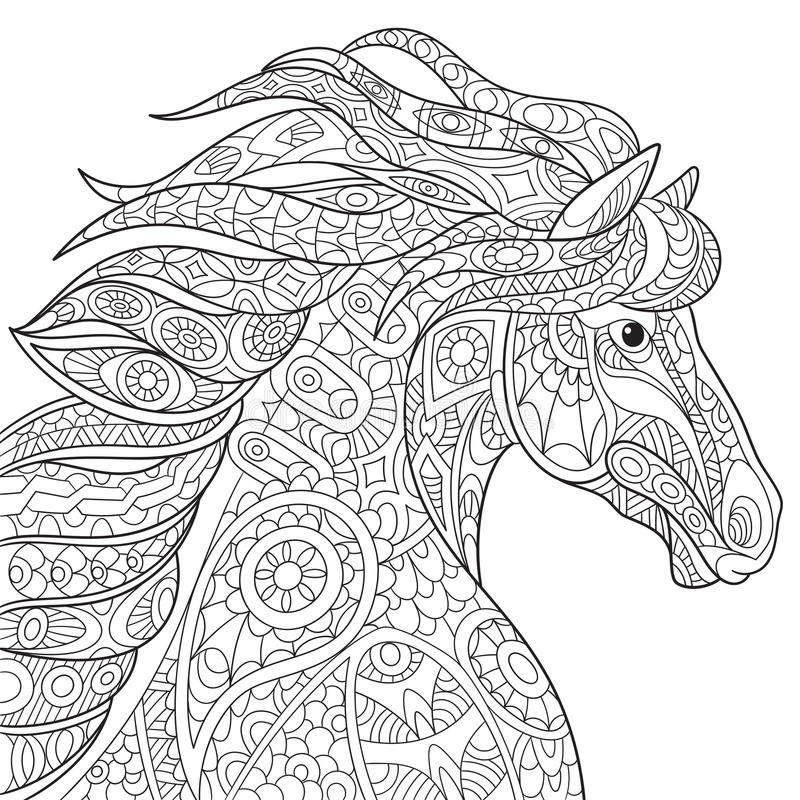 Zentangle gestileerd paard stock illustratie