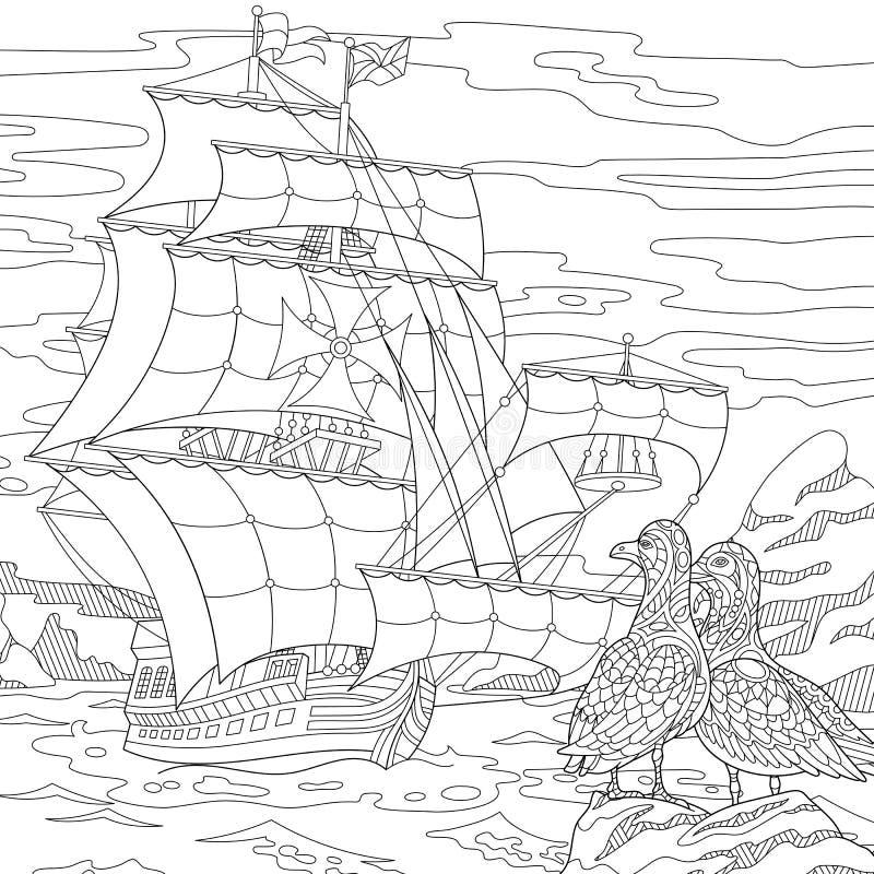 Zentangle gestileerd varend schip royalty-vrije illustratie