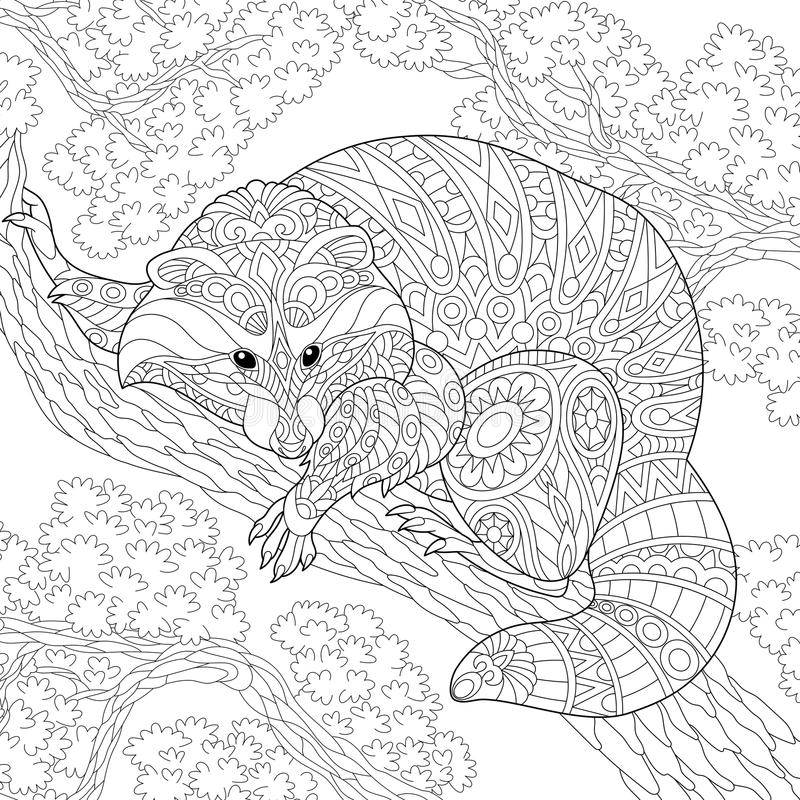 Zentangle gestileerd wasbeerdier stock illustratie