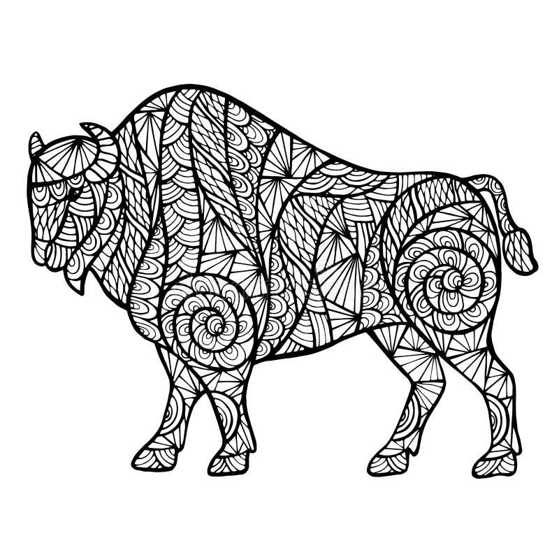 Zentangle gestileerde buffels vector illustratie