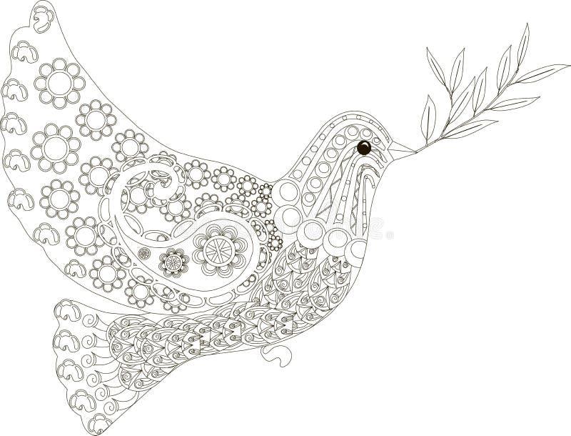 Zentangle gestileerde duif van getrokken vredes zwart-witte hand, vector stock illustratie