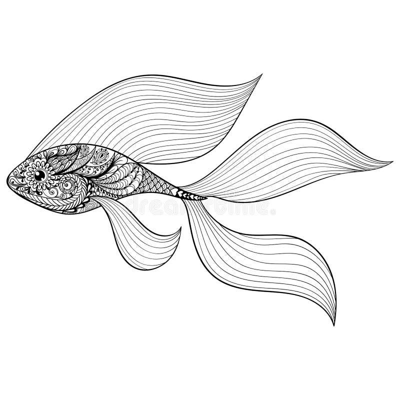 Zentangle gestileerde Gouden Vissen Hand Getrokken gevormde vector illust stock illustratie