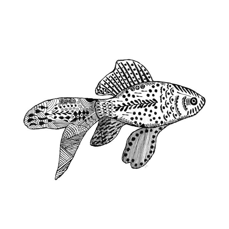 Zentangle gestileerde goudvis royalty-vrije illustratie