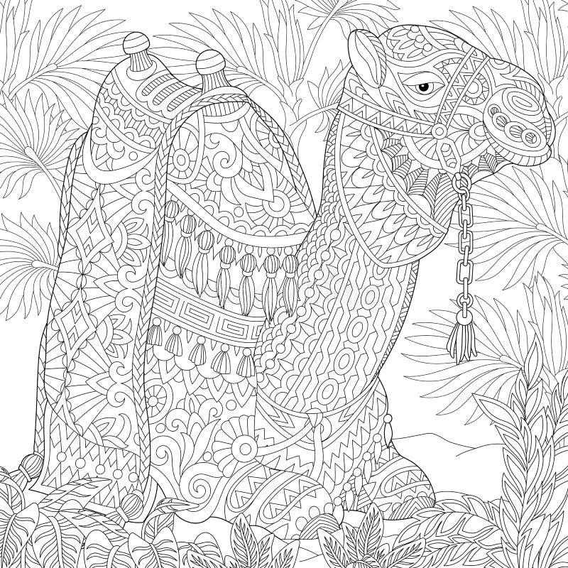 Zentangle gestileerde kameel royalty-vrije illustratie