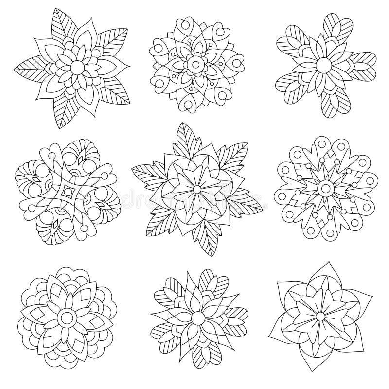 Zentangle gestileerde Kerstmissneeuwvlokken vector illustratie