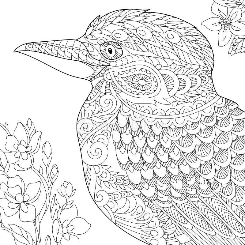 Zentangle gestileerde kookaburravogel