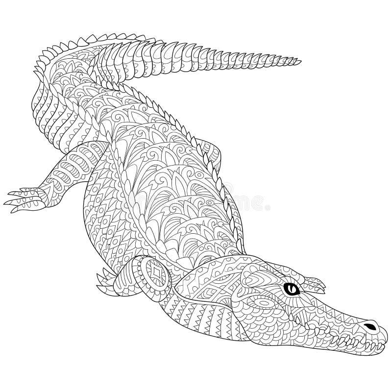 Zentangle gestileerde krokodil (alligator) stock illustratie