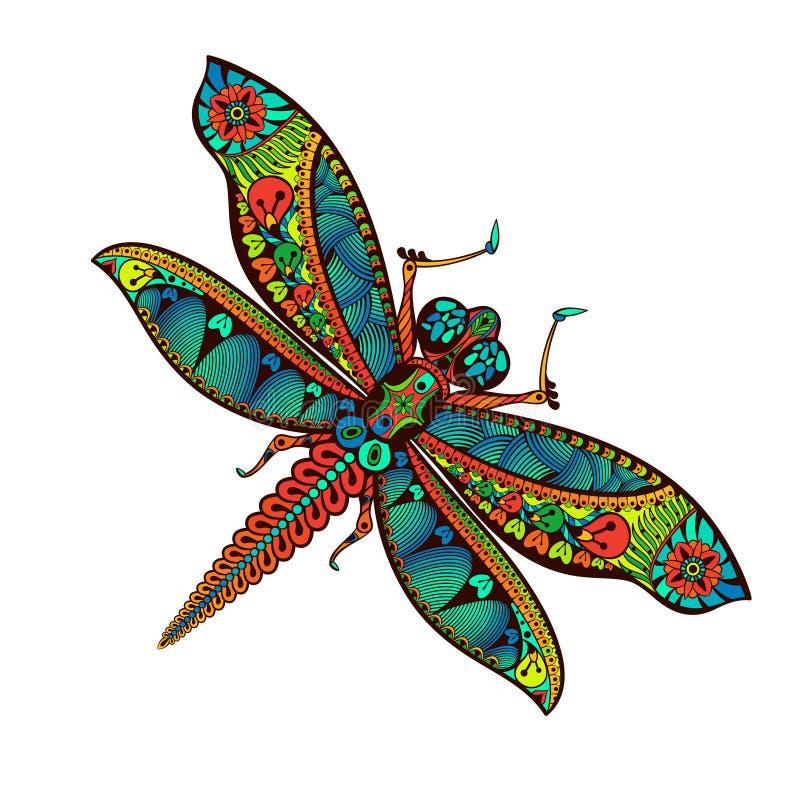 Zentangle gestileerde Libel met abstracte kleurrijke achtergrond stock foto's