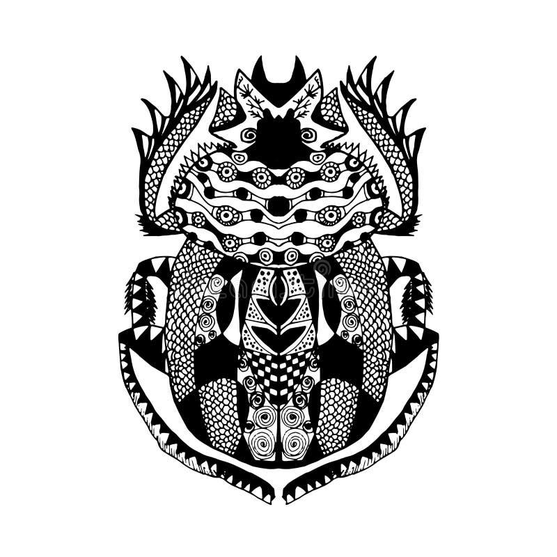 Zentangle gestileerde mestkeverschets voor de drukt-shirt van de tatoegeringsaffiche stock illustratie
