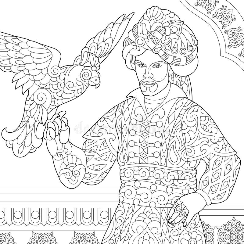 Zentangle gestileerde ottomanesultan met havik royalty-vrije illustratie