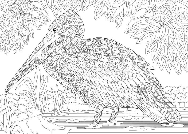 Zentangle gestileerde pelikaan stock illustratie