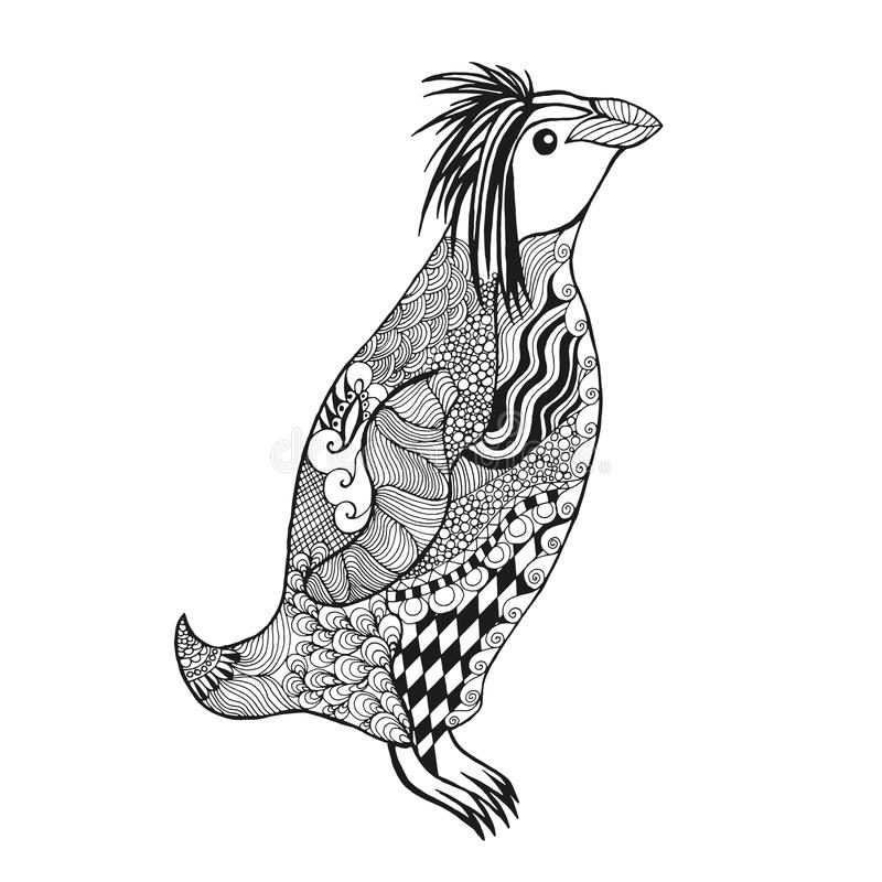 Zentangle gestileerde pinguïn stock illustratie
