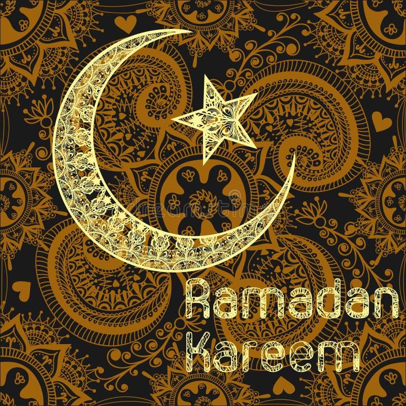 Zentangle gestileerde Ramadan Kareem-groeten gouden achtergrond ram vector illustratie