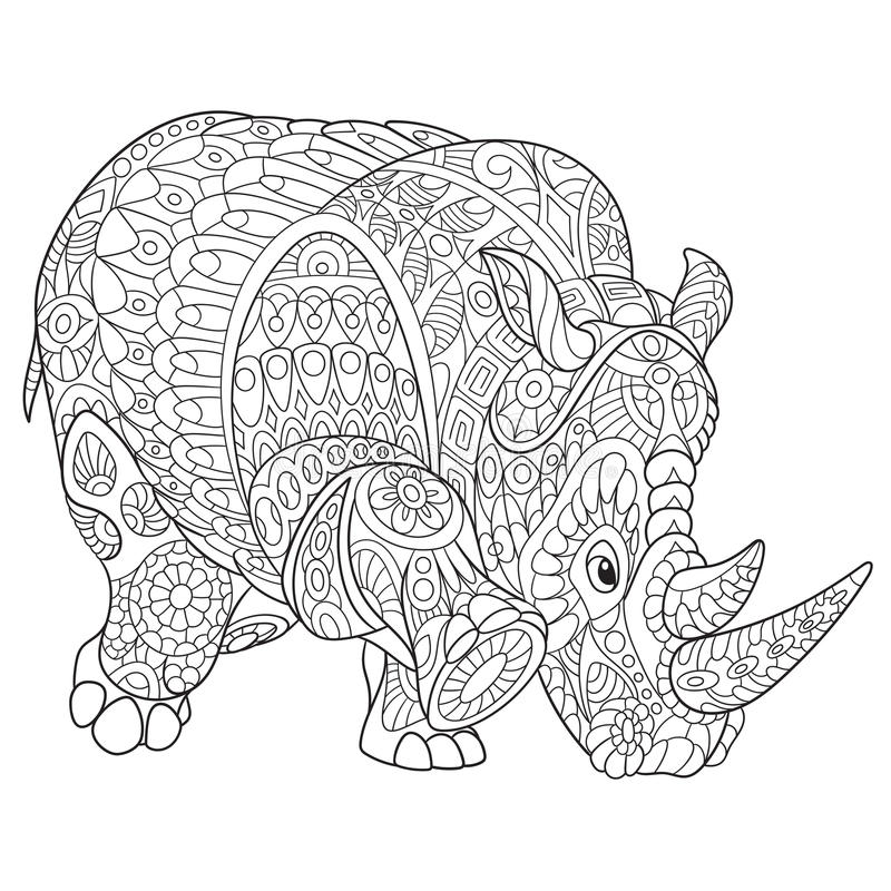 Zentangle gestileerde rinoceros stock illustratie