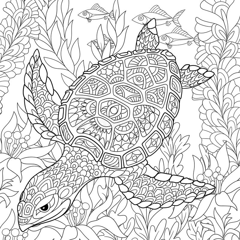 Zentangle gestileerde schildpad royalty-vrije illustratie