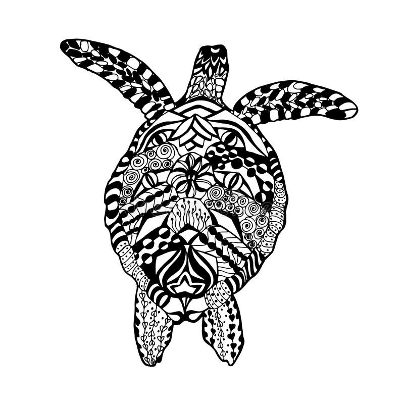 Zentangle gestileerde schildpad Schets voor tatoegering of t-shirt stock illustratie
